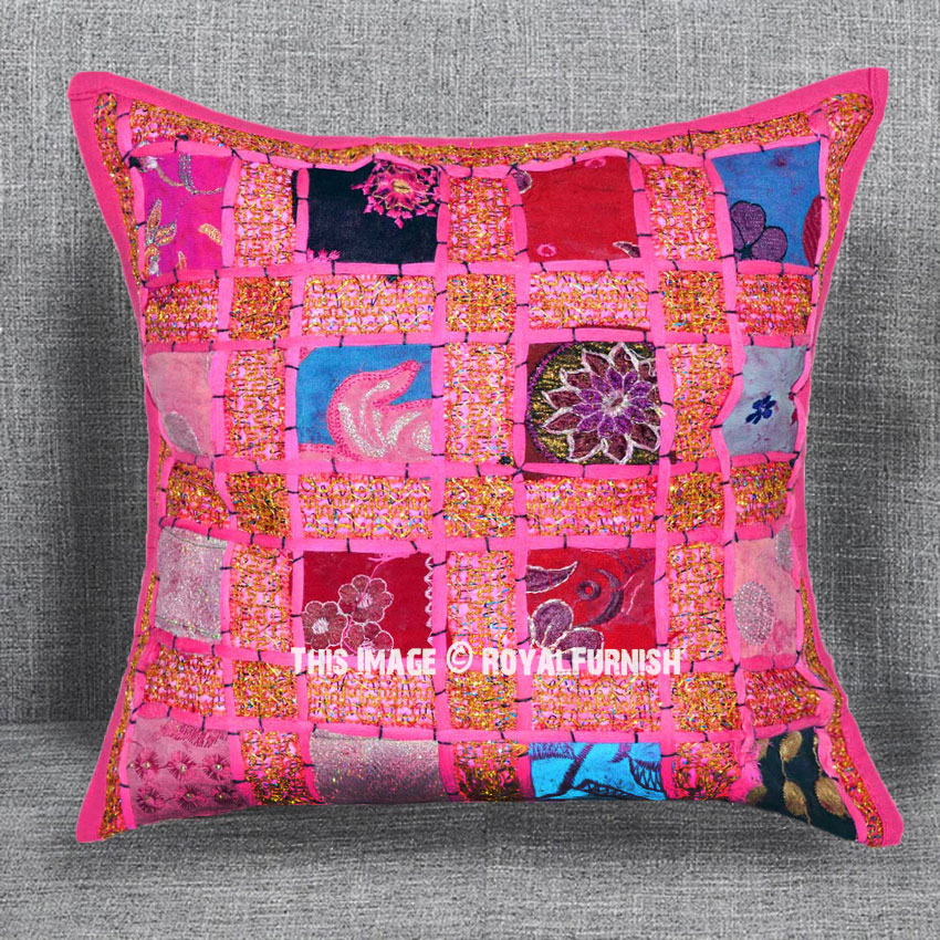 16X16 Pink Bohemian Inspired Sequin Throw Pillow Case
