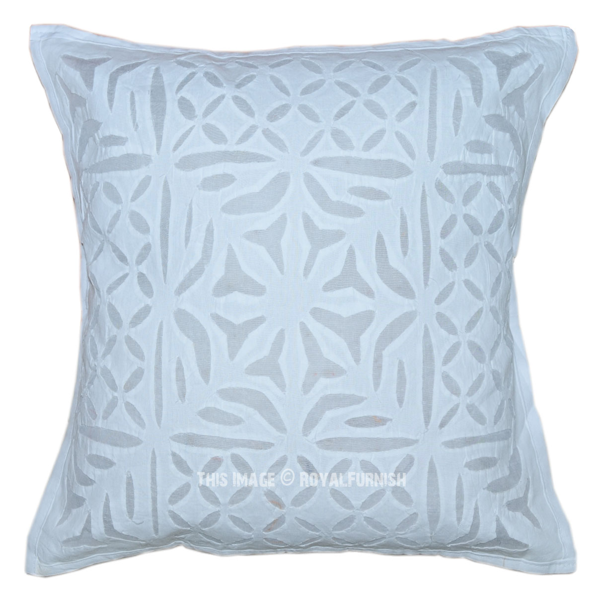 Decorative Pillow Covers 16x16 : 16X16 White Hand Cutwork Floral Pattern Decorative Throw Pillow Cover - RoyalFurnish.com