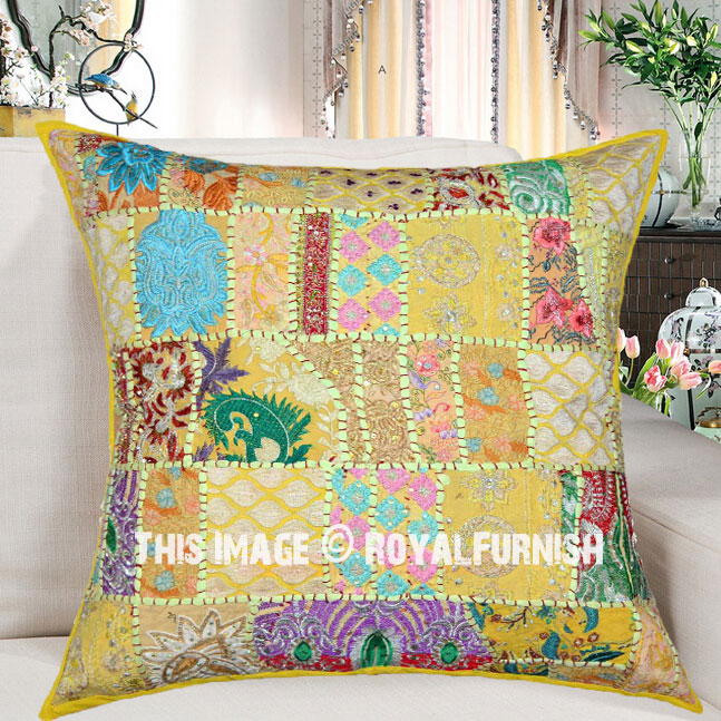 24x24 Quot Yellow Decorative Amp Accent Boho Chic Square Pillow