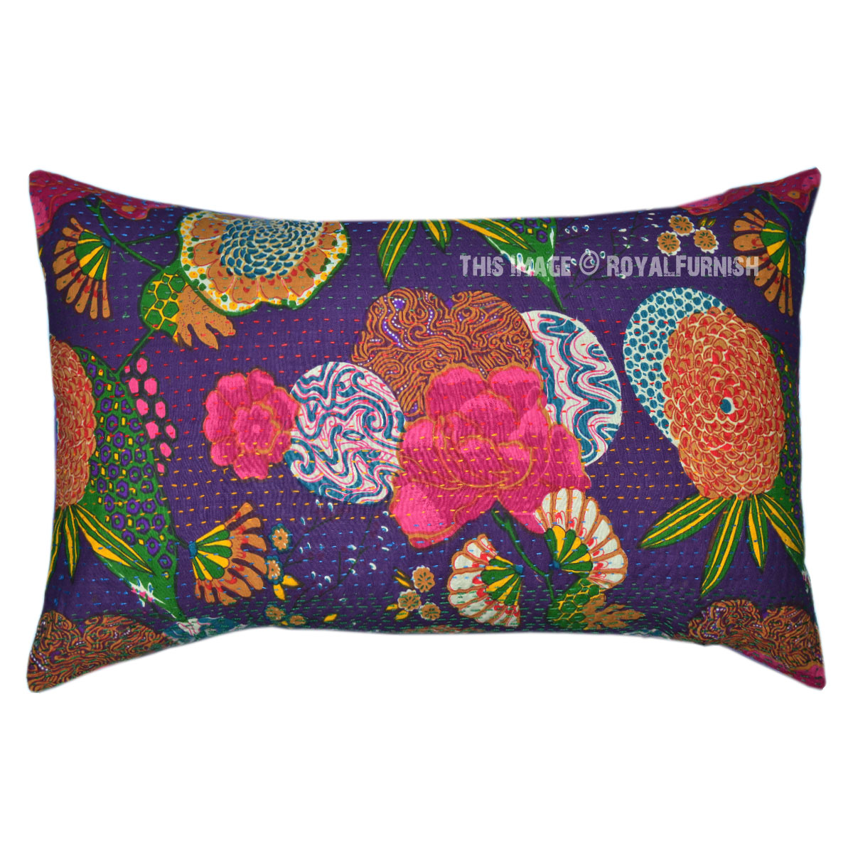 Purple Large Decorative Floral Tropical India Kantha Bed