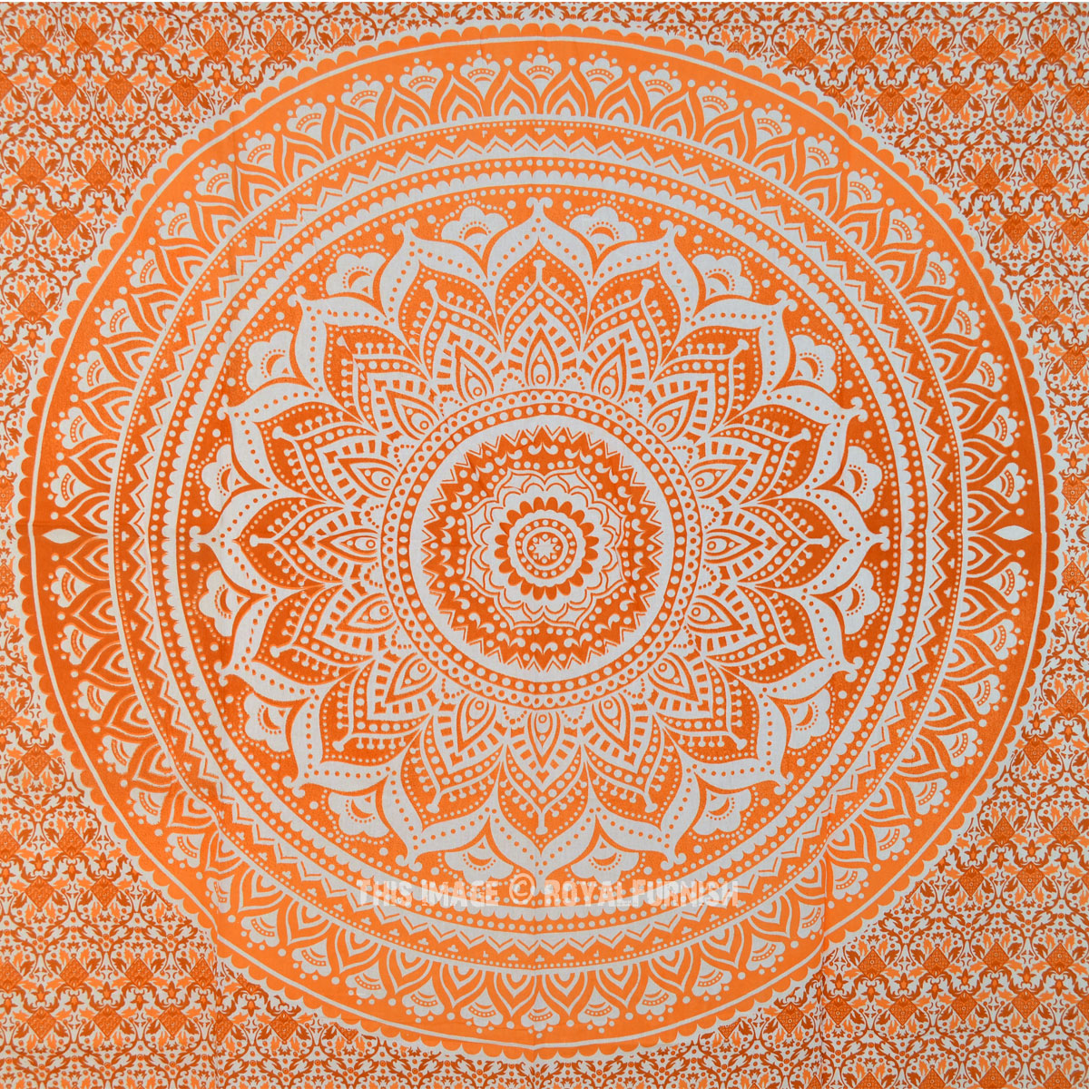 Small Orange Floral Ombre Tapestry Indian Hippie Wall