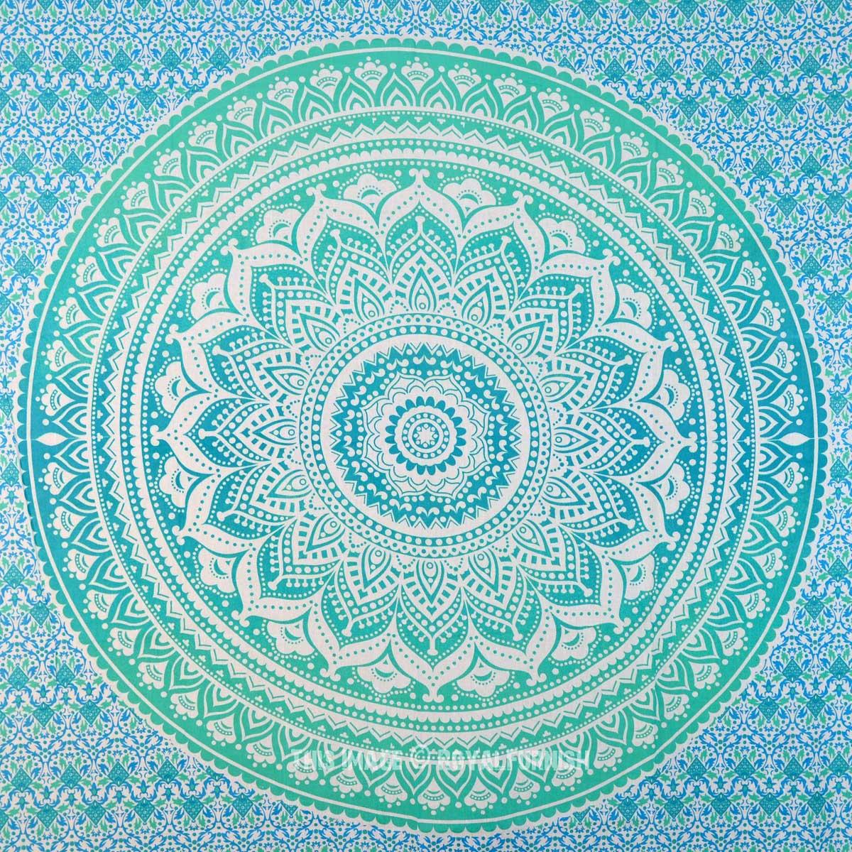 Small Green Floral Circle Ombre Wall Tapestry Mandala