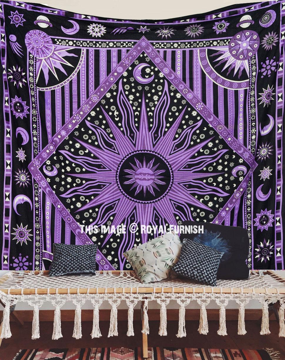 Purple Celestial Sun Moon Stars Wall Tapestry Bohemian