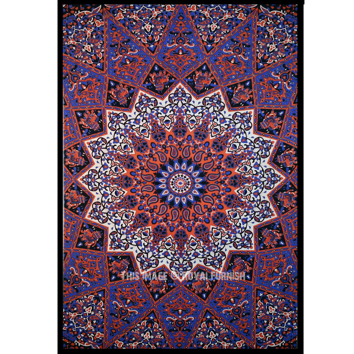 Plum And Bow Medallion Star Elephant Mandala Wall Tapestry