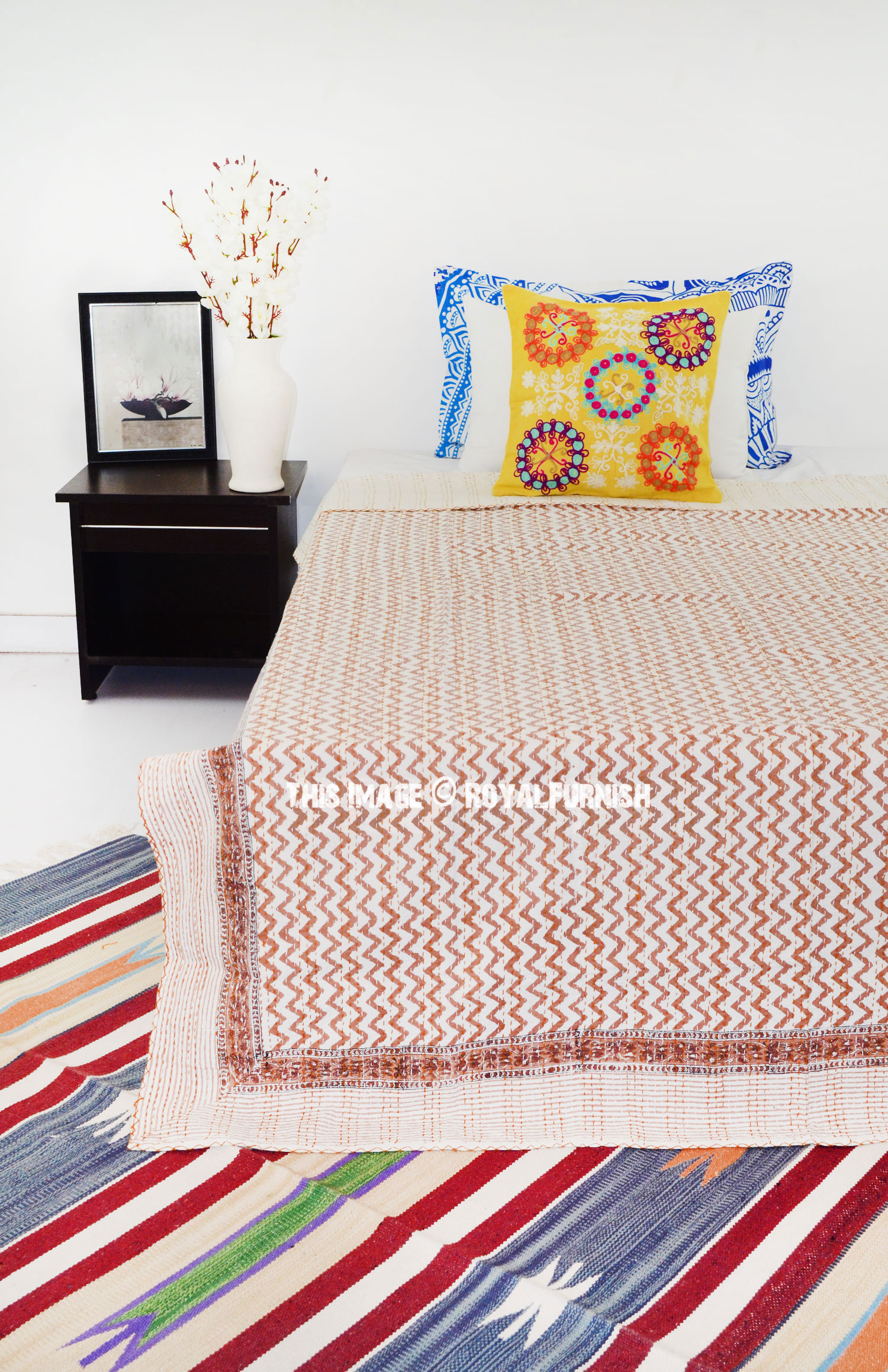 Twin Size Brown Zig Zag Patterned Canvas Kantha Quilted