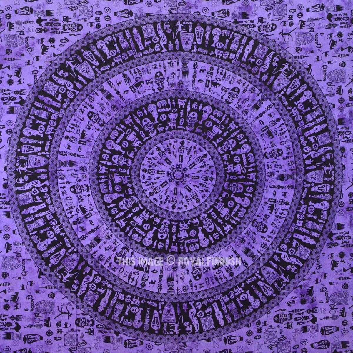 Purple African Tribal Life Mandala Tapestry Wall Hanging