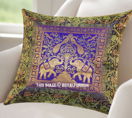 Blue Decorative Elephant Indian Silk Brocade Toss Pillow Cover Classy Indian Silk Decorative Pillows