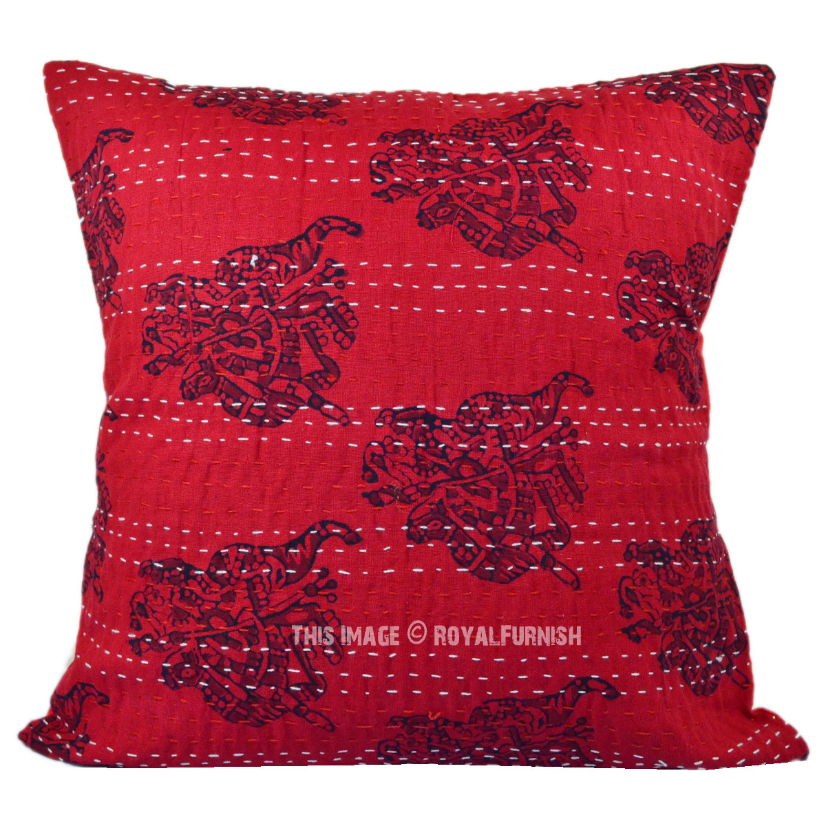 Handmade Decorative Throw Pillows : Decorative Handmade Maroon Camel Printed Kantha Throw Pillow Case - RoyalFurnish.com