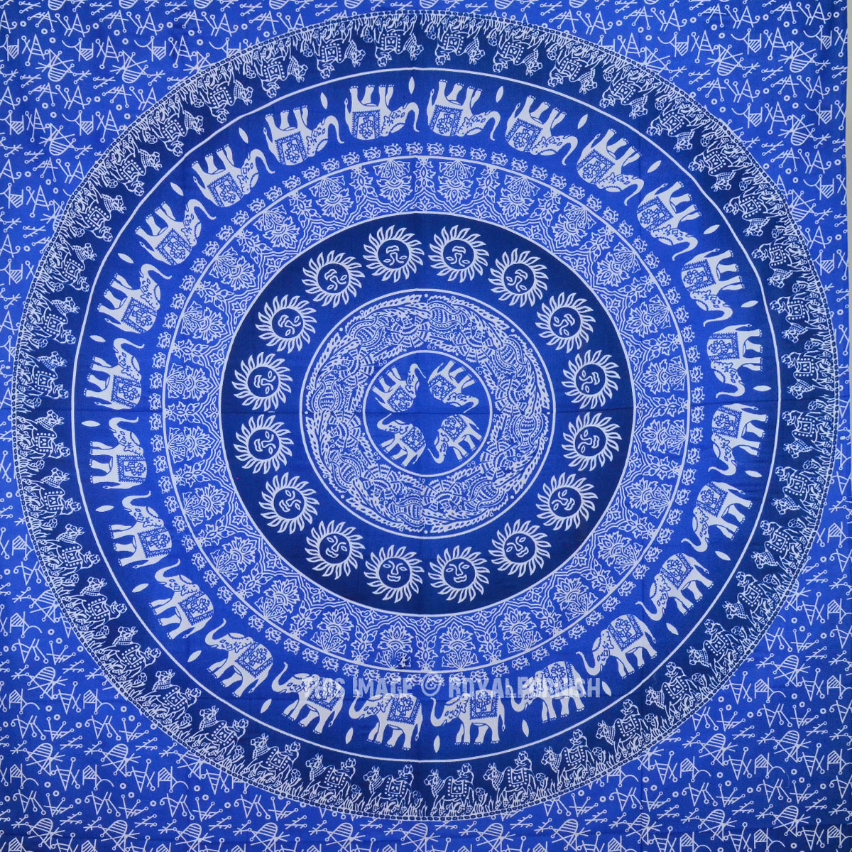 Blue Multi Elephants Sun Ombre Mandala Wall Tapestry - RoyalFurnish.com