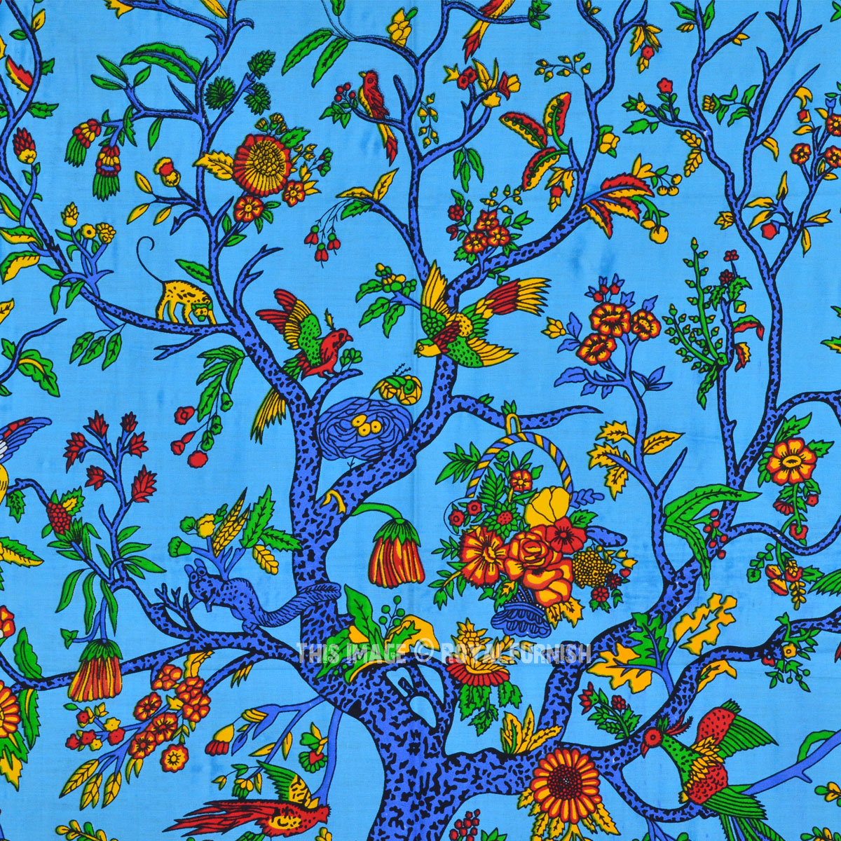 Multi Blue Poster Size Tree Of Life Wall Tapestry