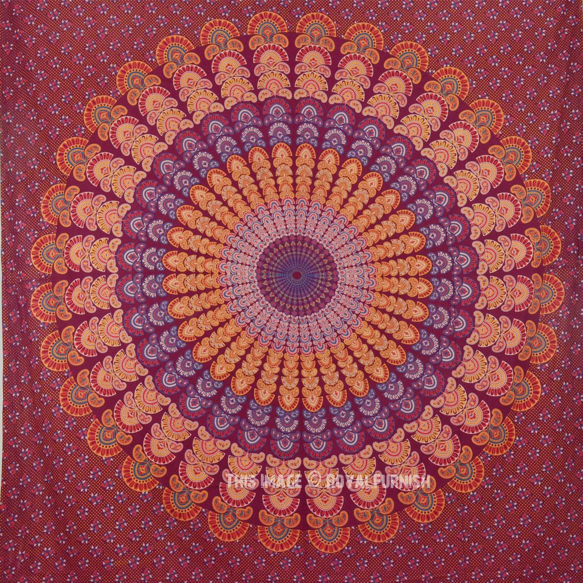 Colorful Large Red Multi Peacock Mandala Tapestry, Boho Bedding - RoyalFurnish.com