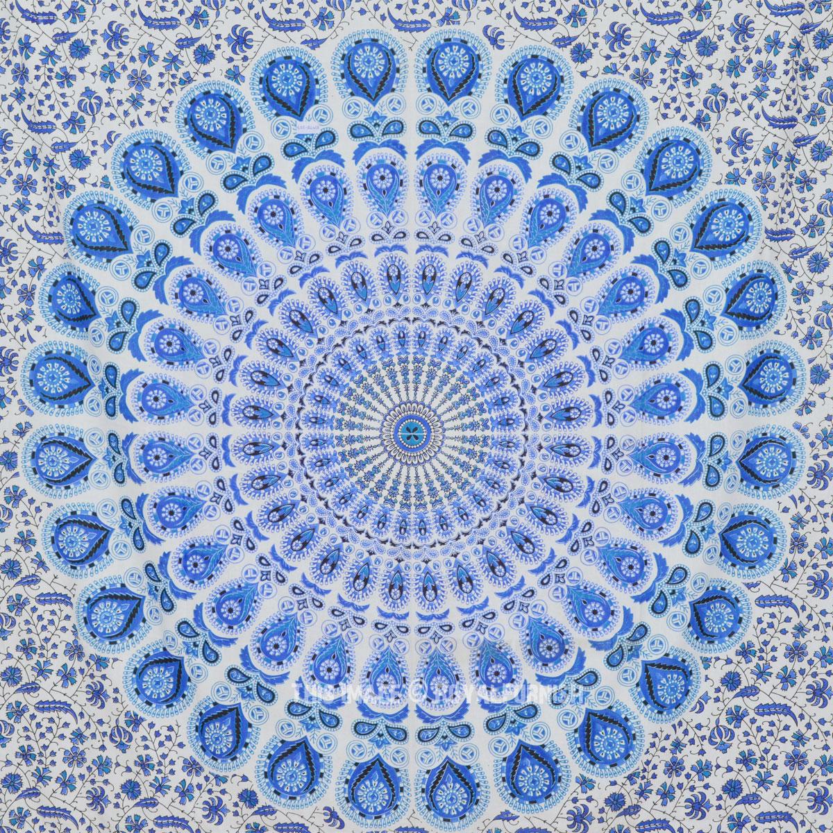 Multi Blue White Boho Style Mandala Tapestry Indian