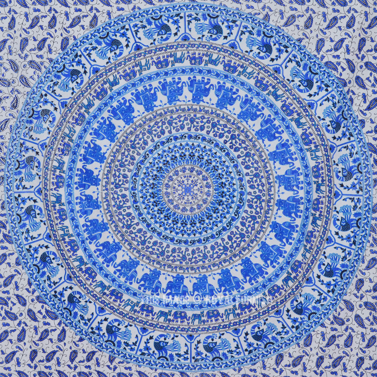 White And Blue Elephant Peacock Medallion Mandala Wall
