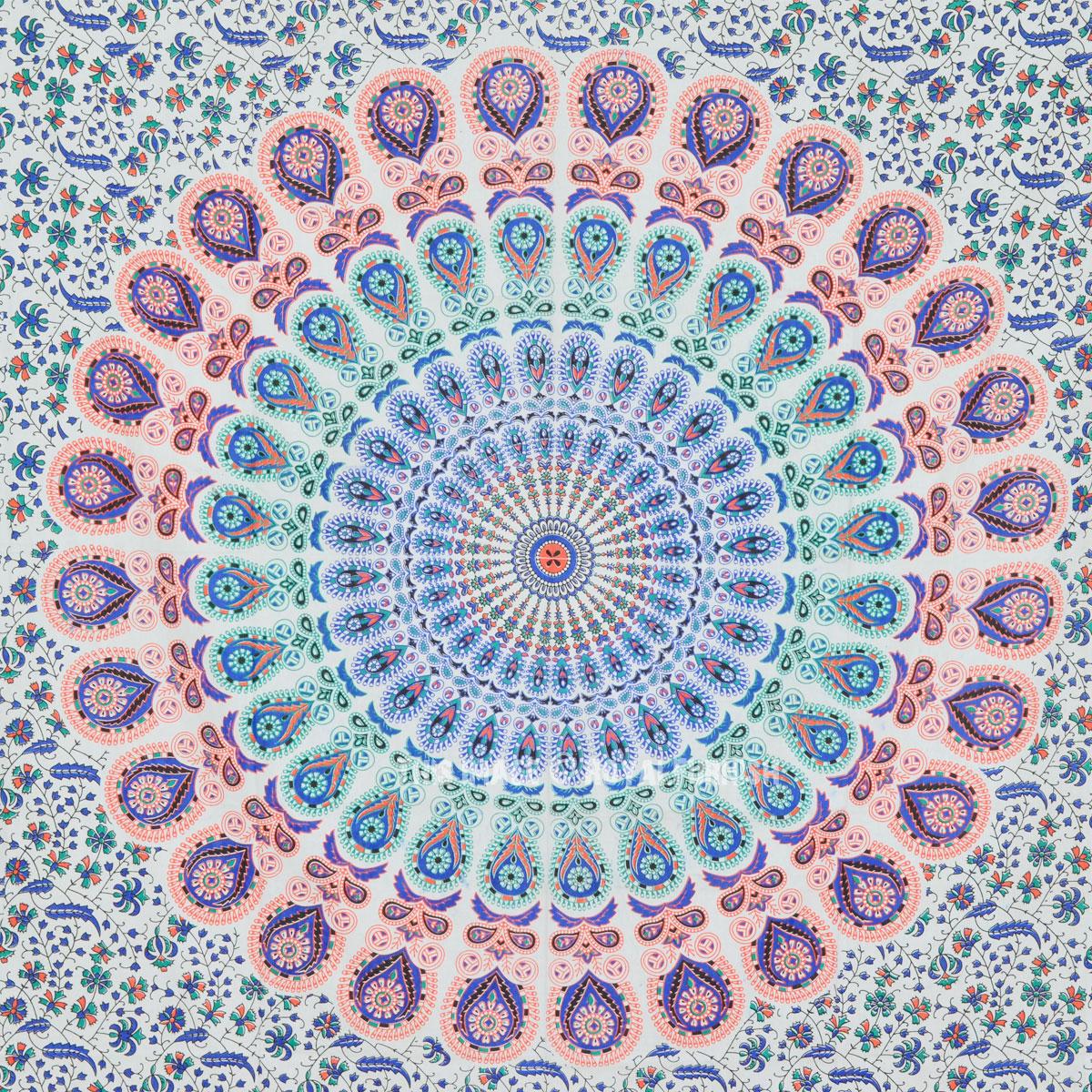 Small Multi Leafs White Mandala Bohemian Wall Tapestry
