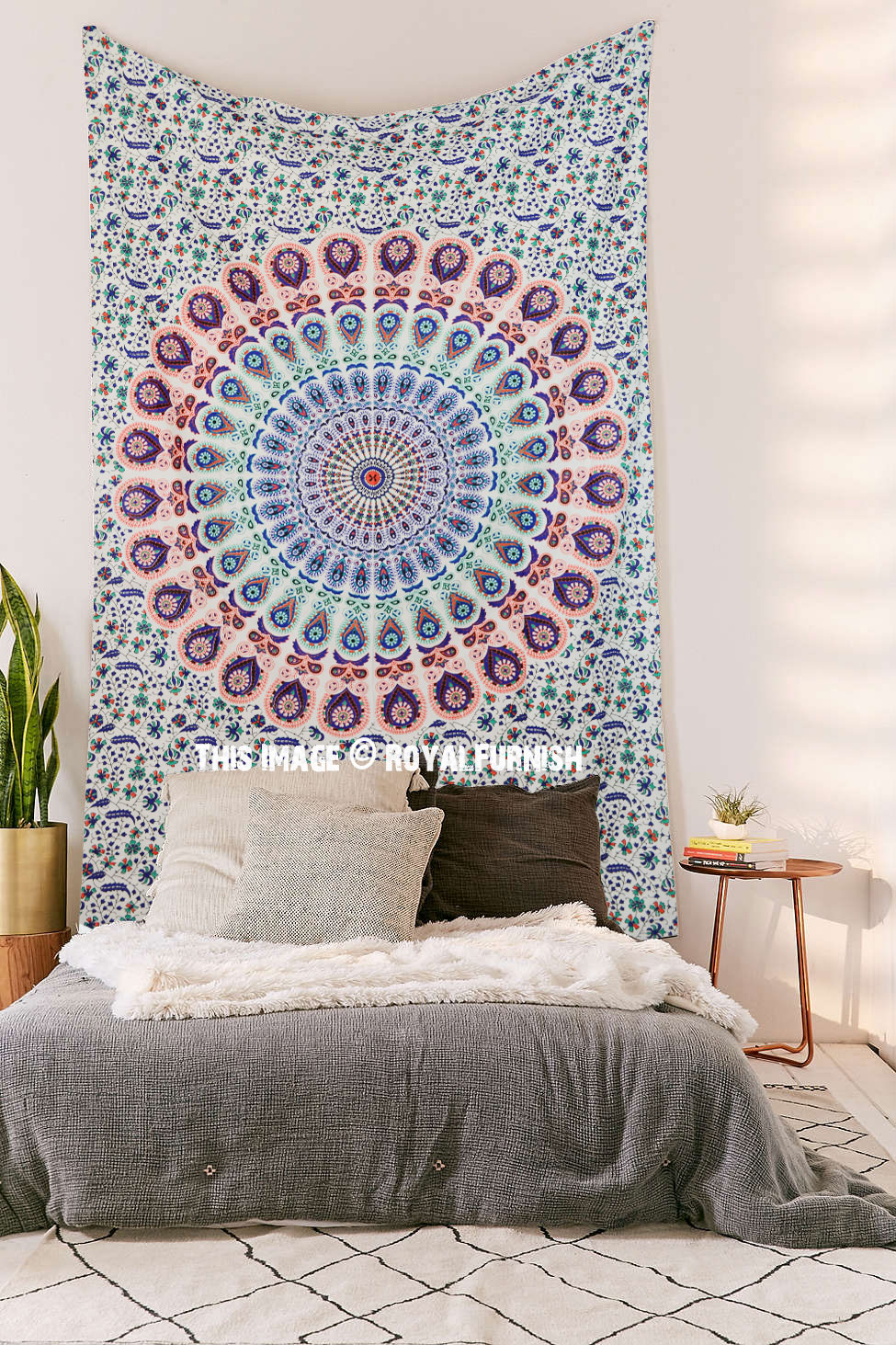 Small Multi Leafs White Mandala Bohemian Wall Tapestry