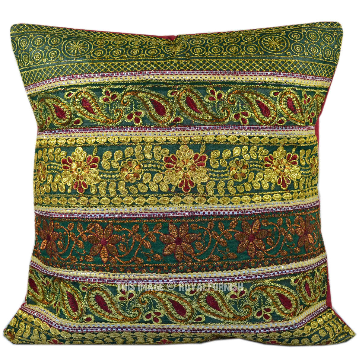 Vintage Decorative Throw Pillows : Antique Golden Thread Sequin Embroidered Indian Decorative Silk Throw Pillow - RoyalFurnish.com