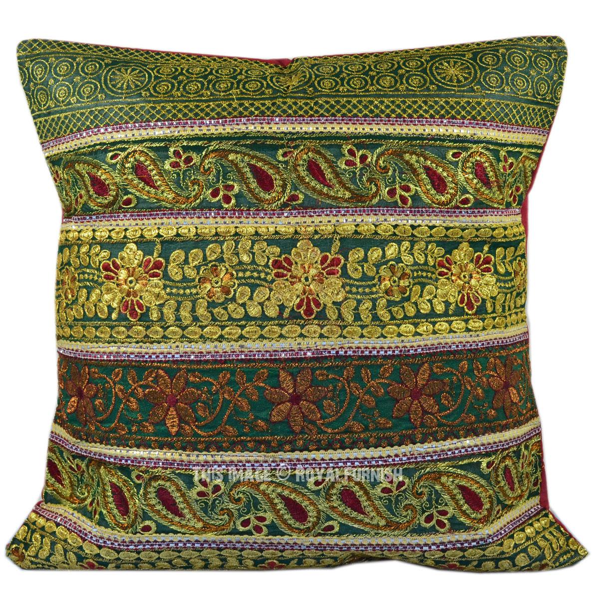 Antique Golden Thread Sequin Embroidered Indian Decorative Silk Throw Pillow - RoyalFurnish.com
