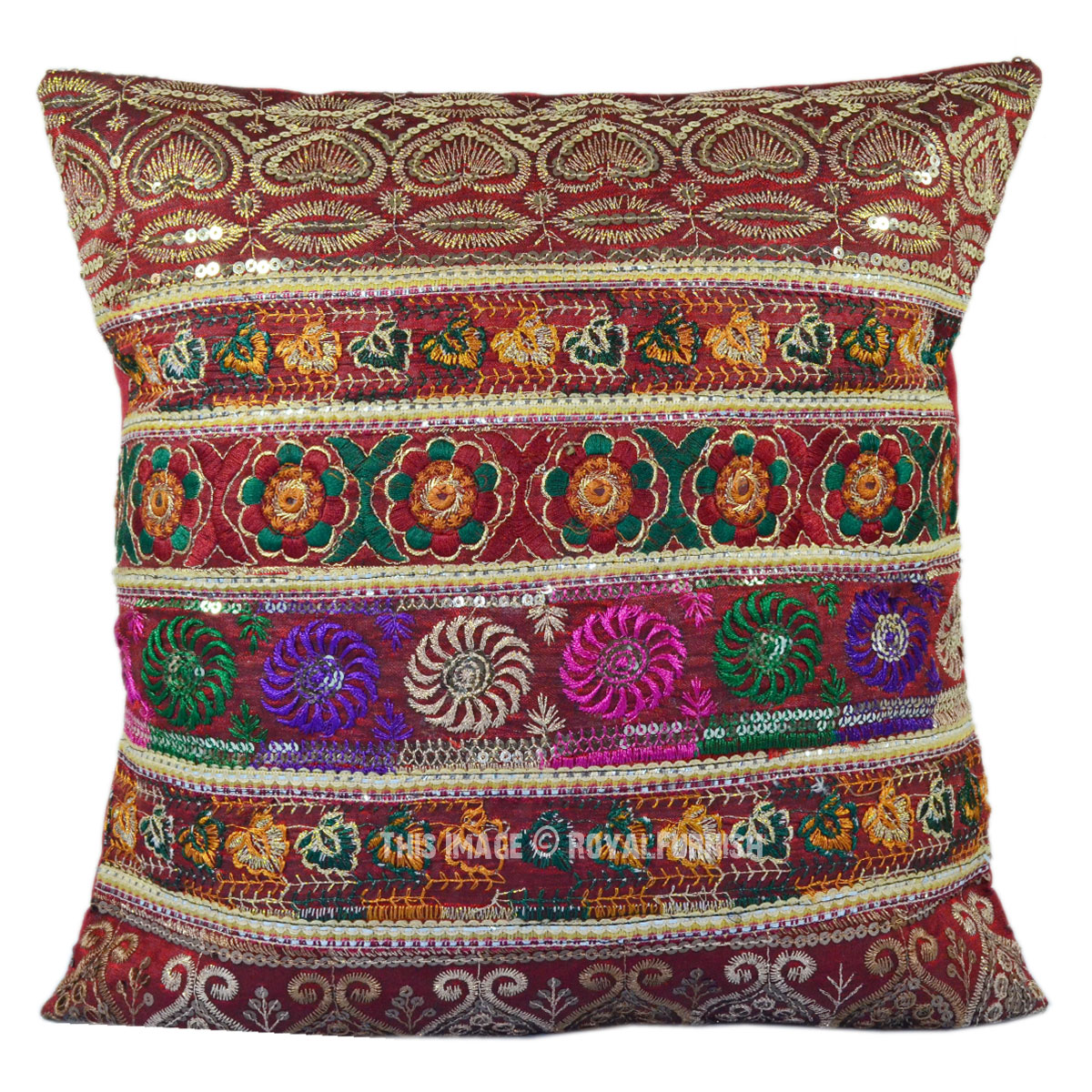 Antique Multicolor Silk Embroidered Sequin Indian Decorative Throw Pillow - RoyalFurnish.com