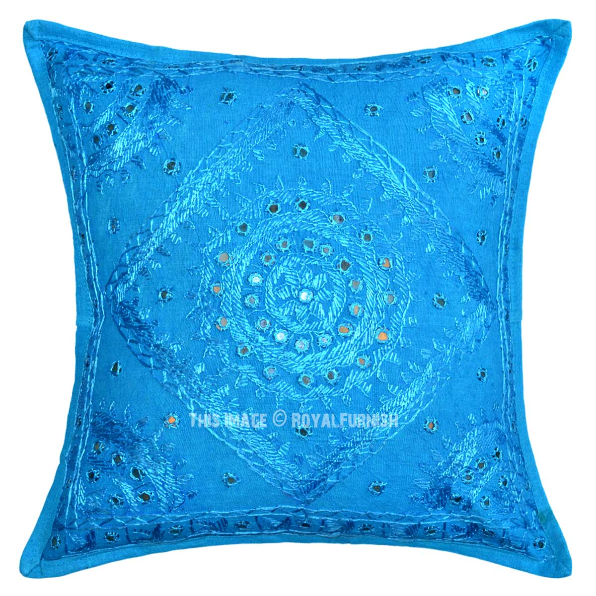 Blue And Aqua Throw Pillows : 16X16 Turquoise Blue Decorative Bohemian Accent Mirrored Pillow Cover - RoyalFurnish.com