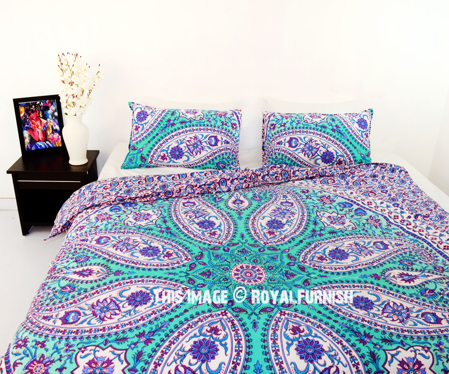 Purple Paisley Boho Circle Mandala Duvet Cover With Set Of