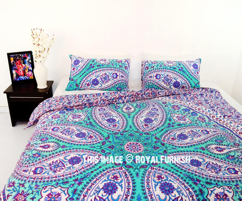 Purple Paisley Boho Circle Mandala Duvet Cover With Set Of 2 Pillow Cases