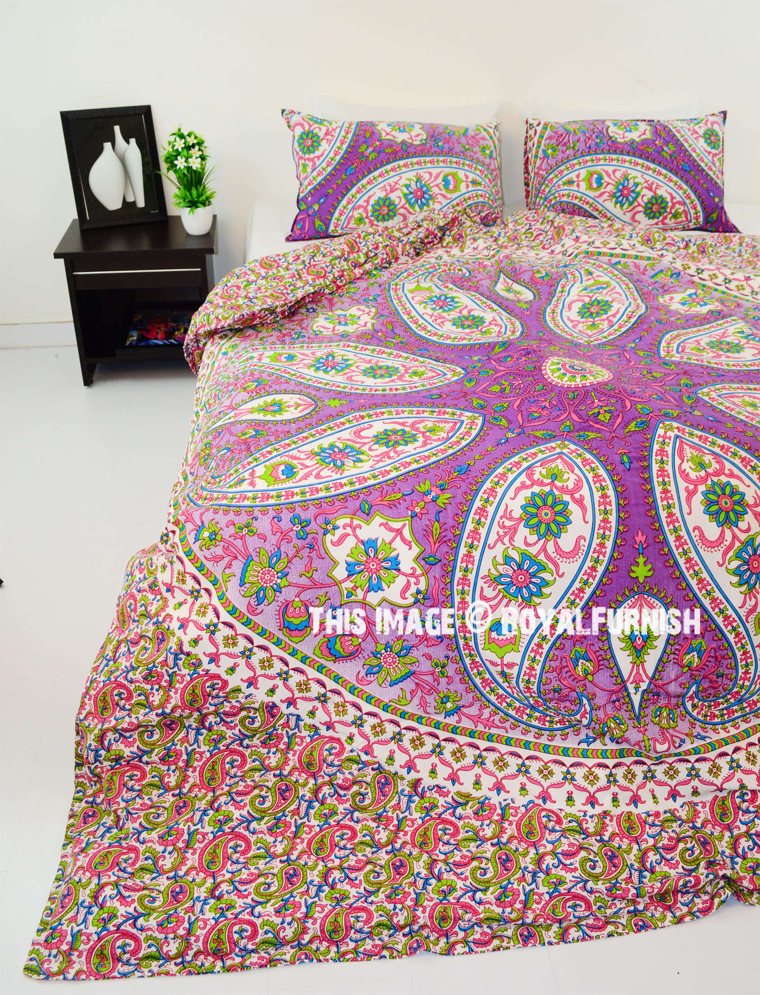 Pink Paisley Boho Circle Mandala Duvet Cover With Set Of 2