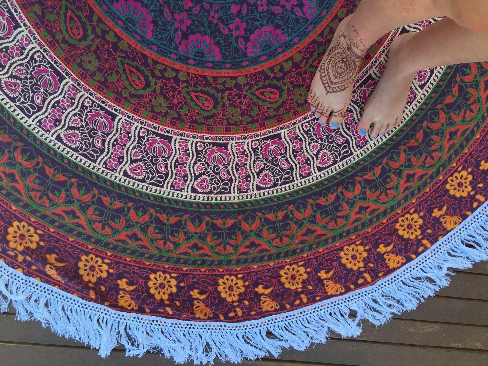 Purple Plum And Bow Fringed Medallion Colorful Mandala