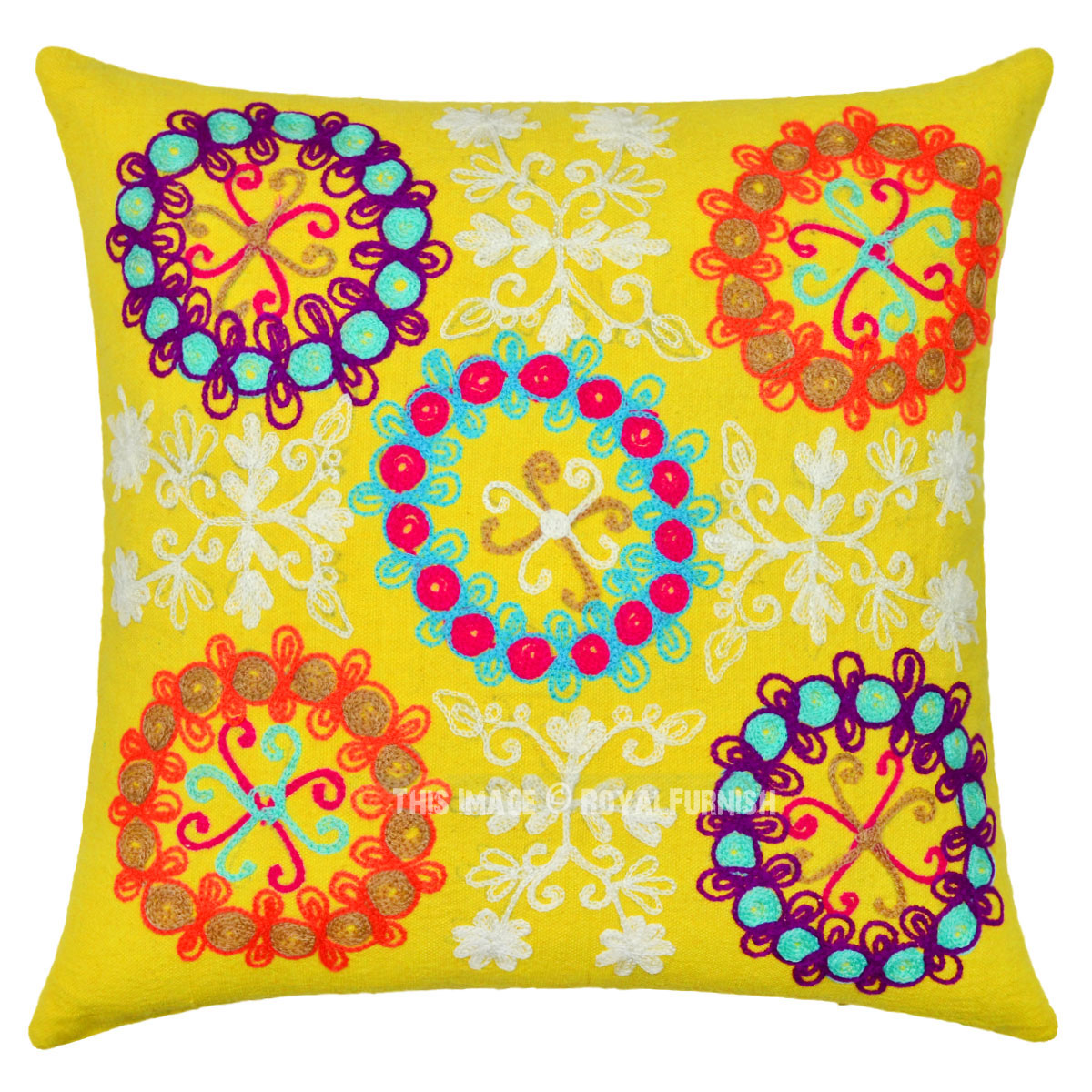 Yellow Decorative Embroidery Indian Suzani Designer Throw Pillow Cover - RoyalFurnish.com