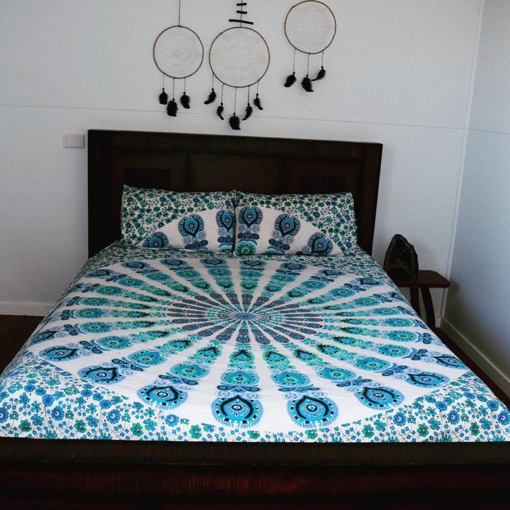 King Size White Blue Reversible Peafowl Mandala Duvet