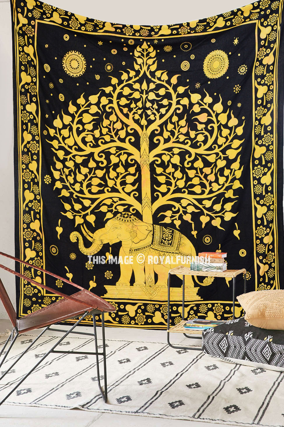 Large Asian Elephant with Tree Tapestry Wall Hanging, Hippie ...