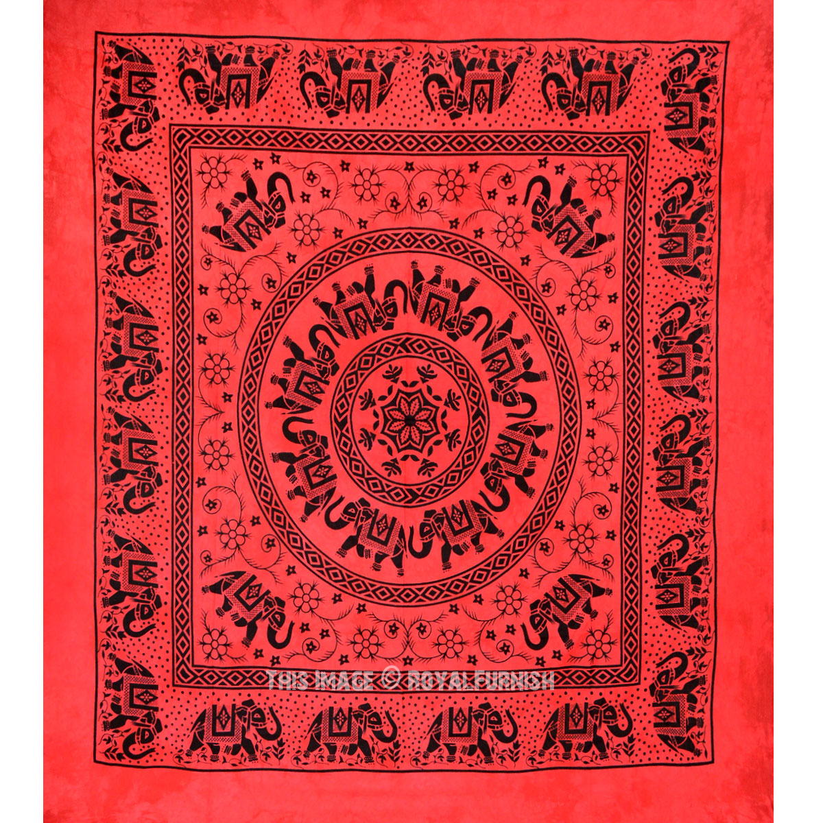 Red Multi Herd of Elephants Mandala Tie Dye Tapestry Bedding - RoyalFurnish.com