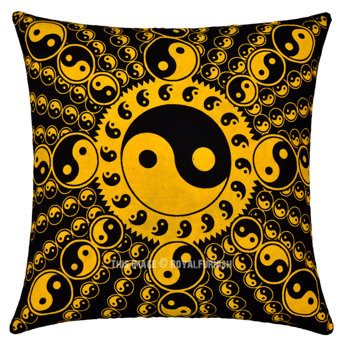 Yellow And Black Decorative Pillows : Yellow and Black Yin Yang Decorative Tie Dye Pillow Cover 16X16 - RoyalFurnish.com