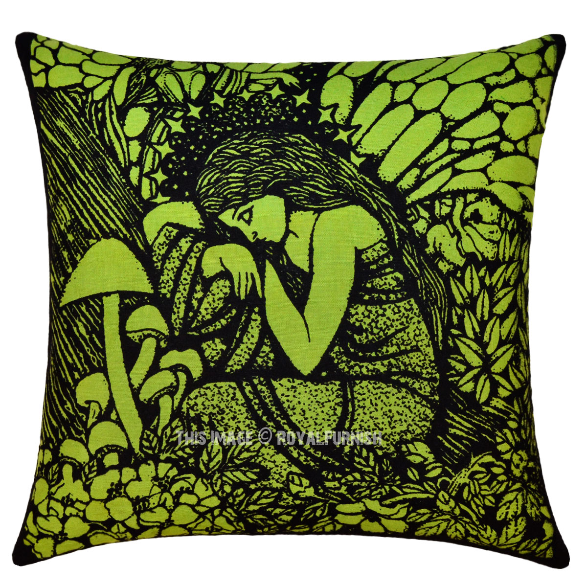 Green Fairy Queen Decorative Hippie Tie Dye Cotton Square Pillow Cover 16X16 - RoyalFurnish.com
