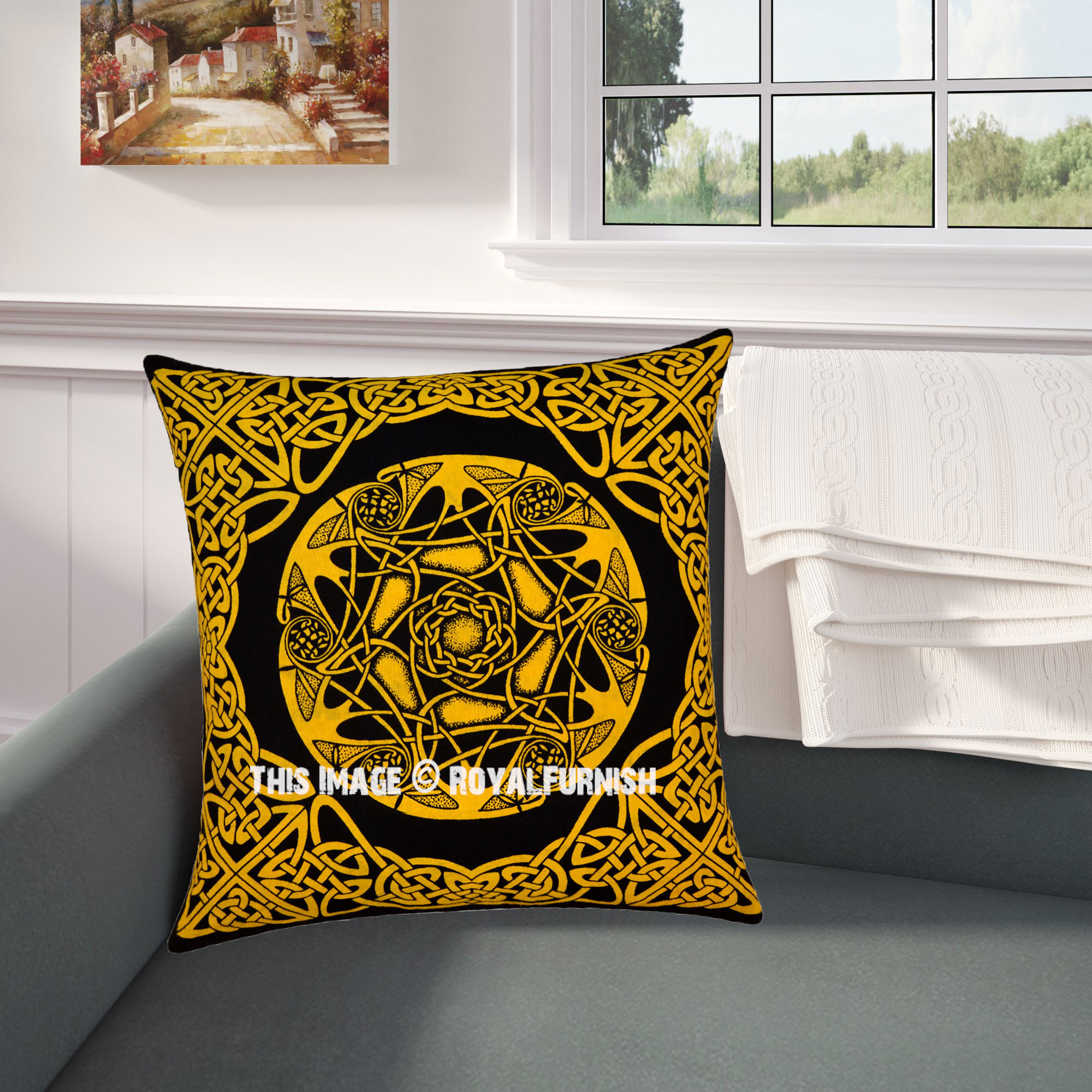 Yellow Star Celtic Knot Decorative Tie Dye Cotton Throw