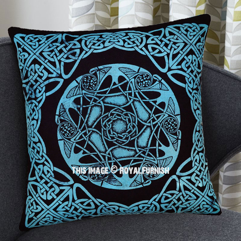 Turquoise Blue Decorative Star Celtic Knot Cotton Throw