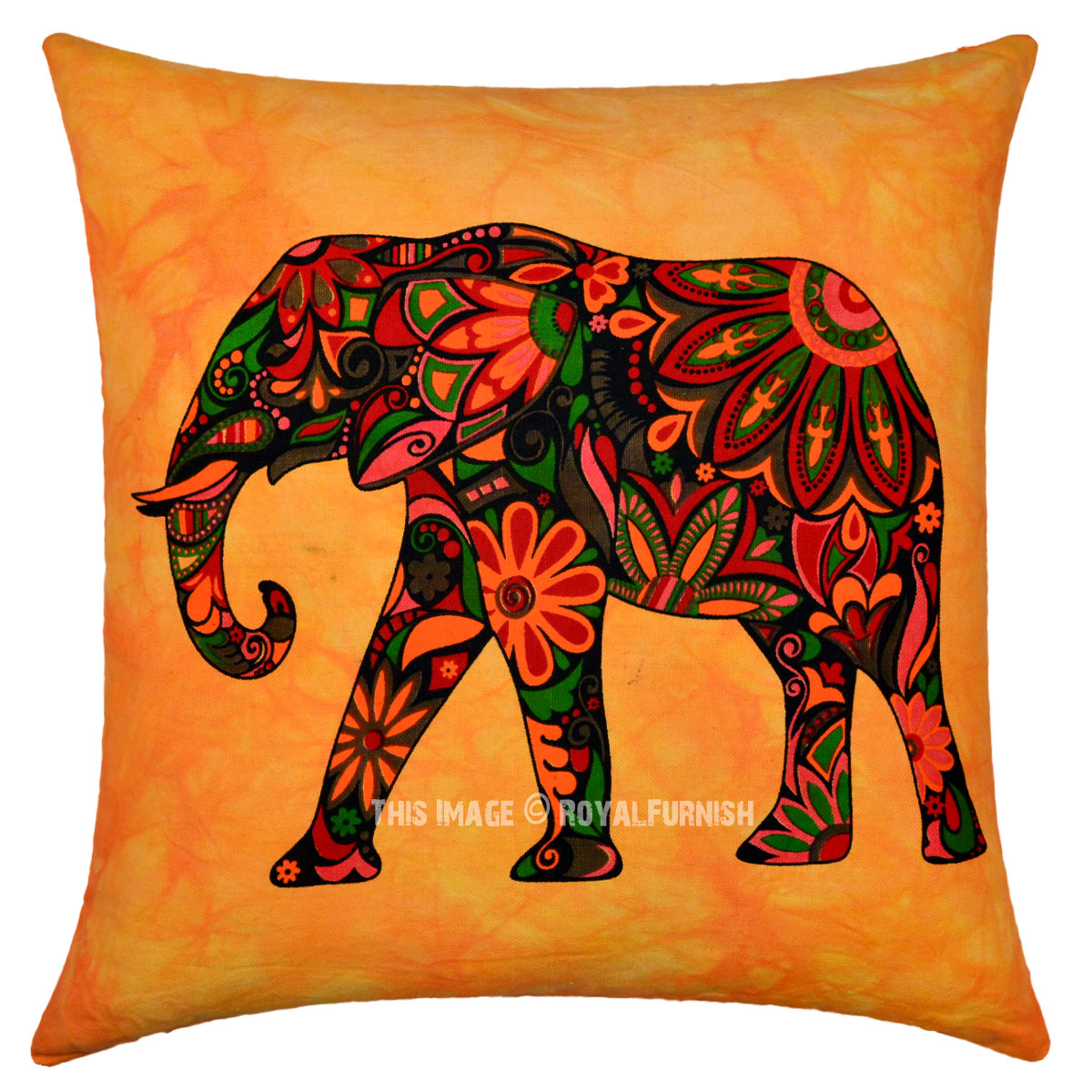 Orange Asian Elephant Tie Dye Hippie Decorative Throw Pillow Cover 16X16 Inch - RoyalFurnish.com