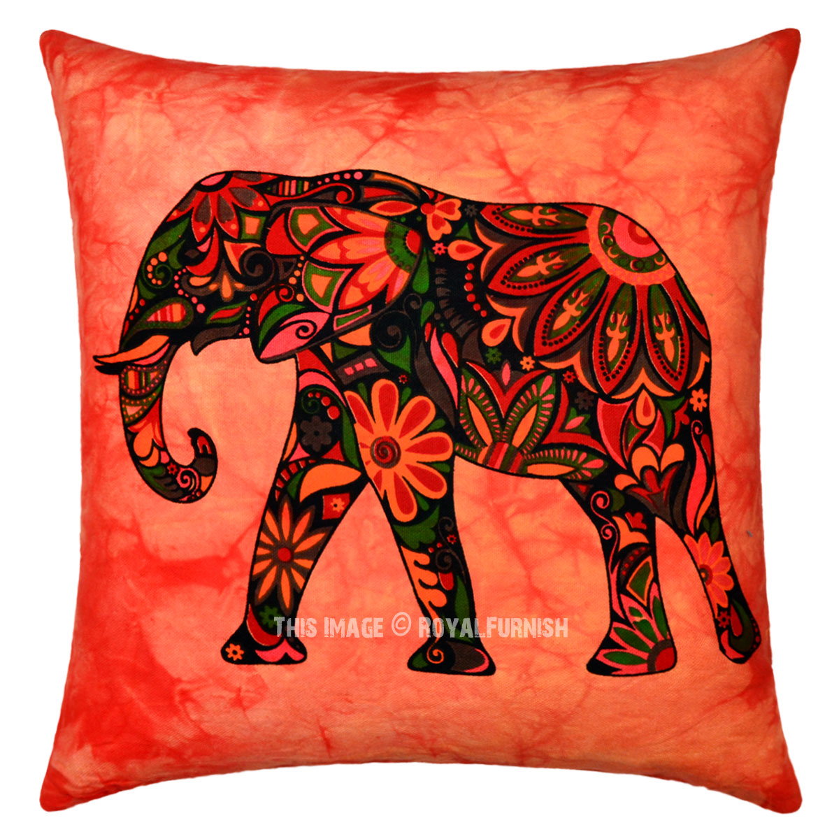 Red Multi Decorative Tie Dye Printed Asian Elephant Throw Pillow Cover 16X16 - RoyalFurnish.com