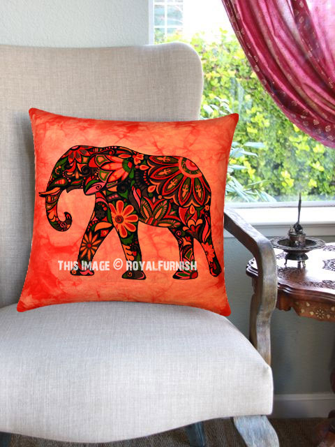 Red Multi Decorative Tie Dye Printed Asian Elephant Throw