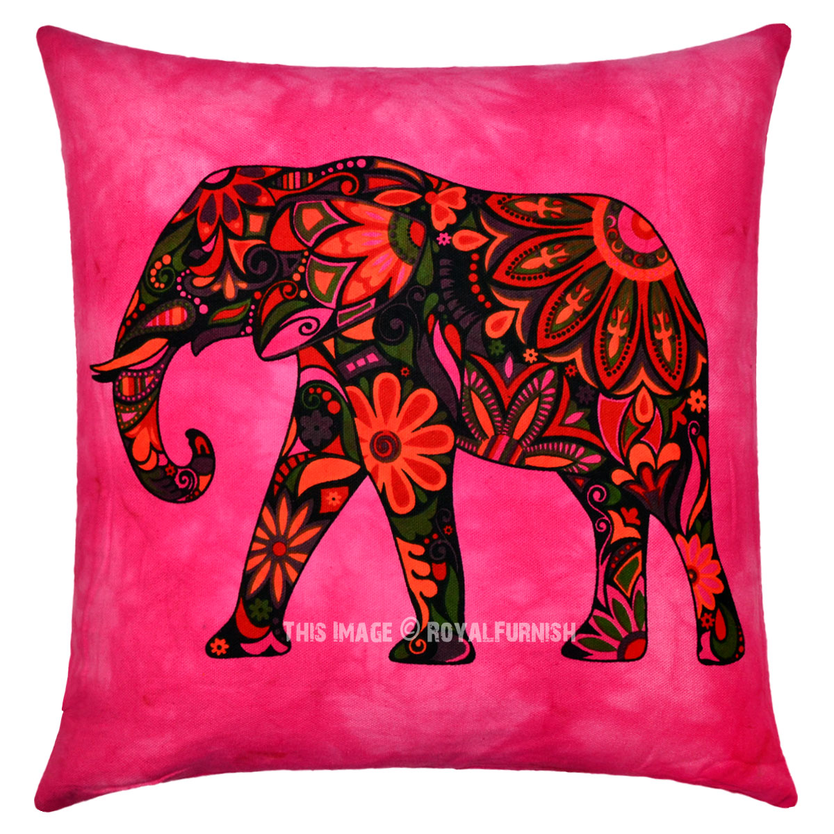 Hippie Floor Pillows : Pink Asian Elephant Tie Dye Hippie Decorative Reversible Pillow Cover 16X16 Inch - RoyalFurnish.com