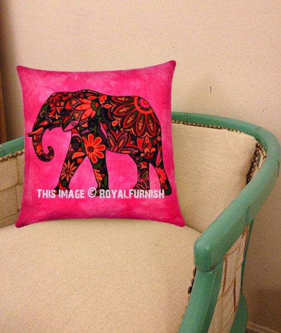 Pink Asian Elephant Tie Dye Hippie Decorative Reversible