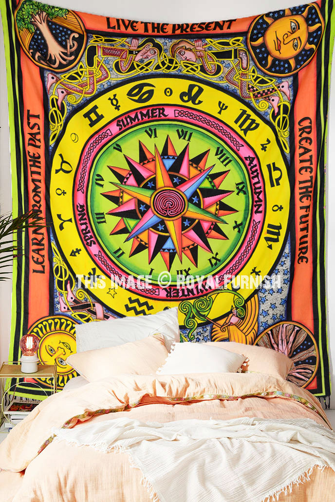 Cycle Of Ages Twin Tapestry Wall hanging Bedding Cotton Bedspread Unique Zodiac