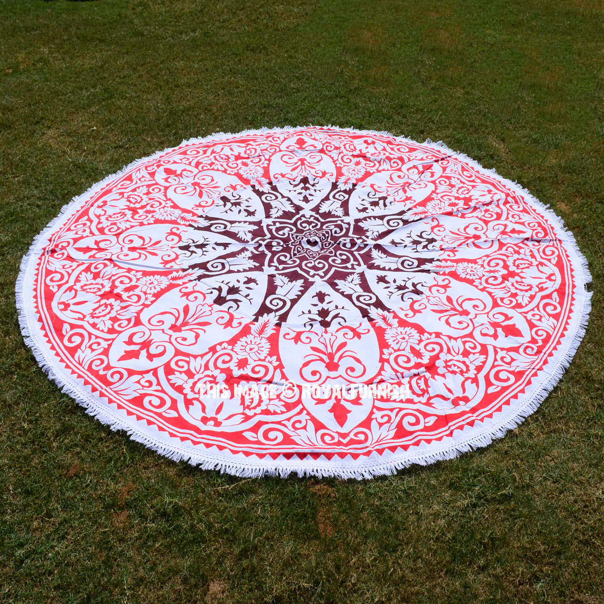 Red And White Vector Ombre Mandala Roundie Beach Throw