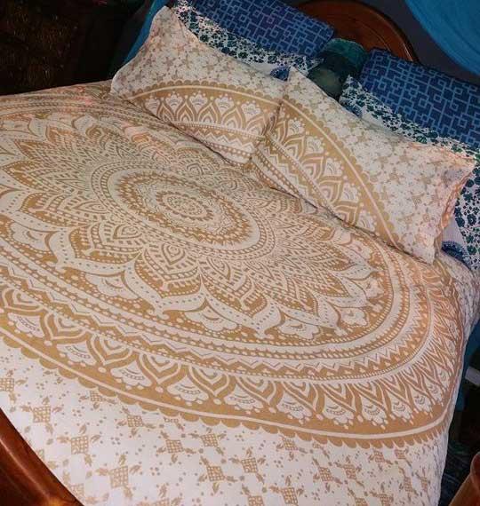 Golden Classic Ombre Boho Mandala Bedding Duvet Cover Set