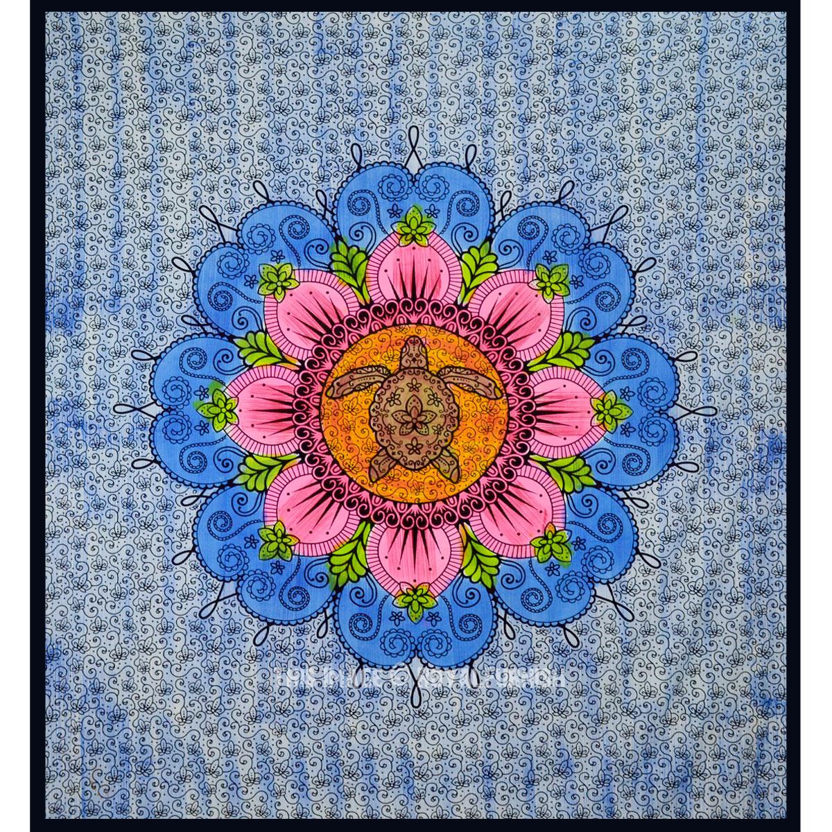 Blue Multi Turtle Mandala Tapestry Royalfurnish Com