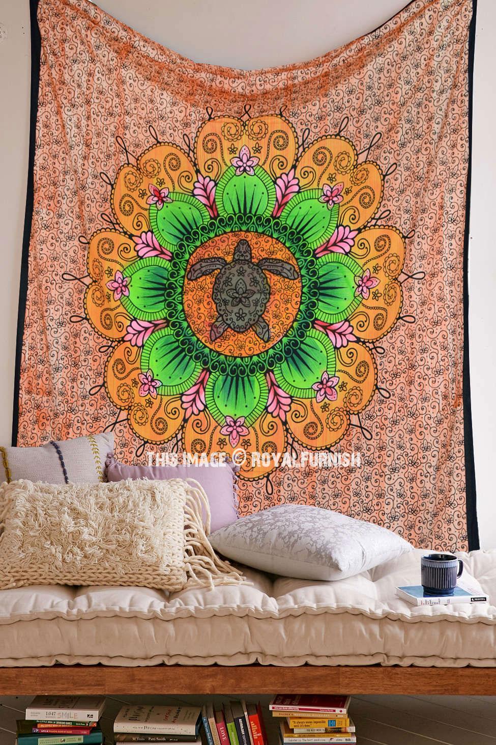 Orange Multi Turtle Mandala Tapestry Royalfurnish Com