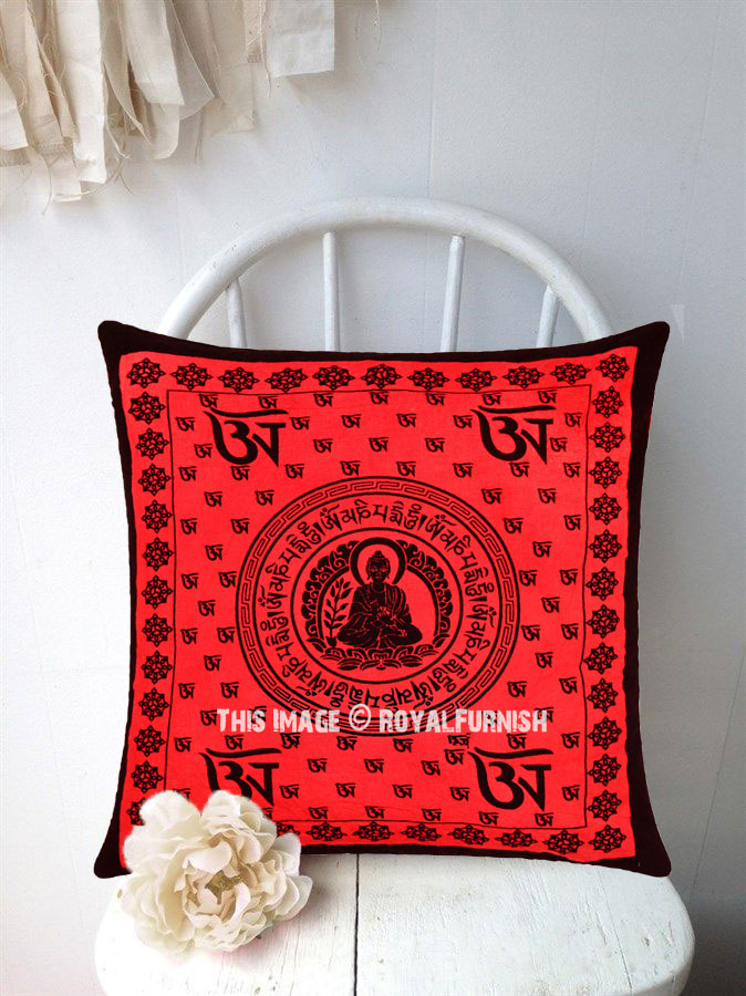 Decorative Red Lotus Buddha Aum Printed Throw Pillow Cover 40X40 Best Buddha Decorative Pillows