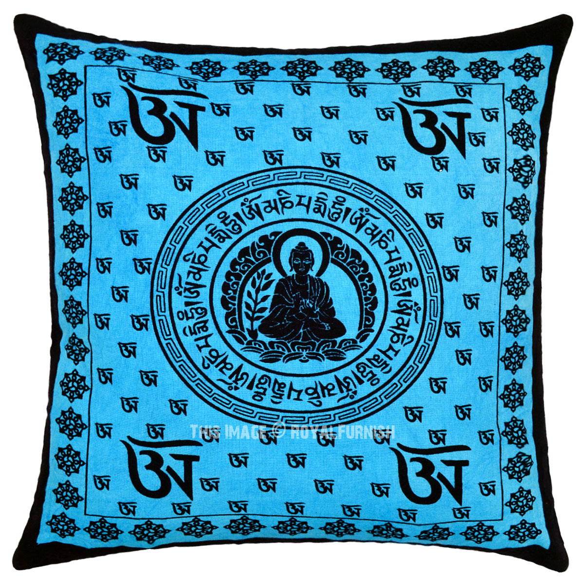 Turquoise Lotus Buddha Om Printed Decorative Tie Dye Throw