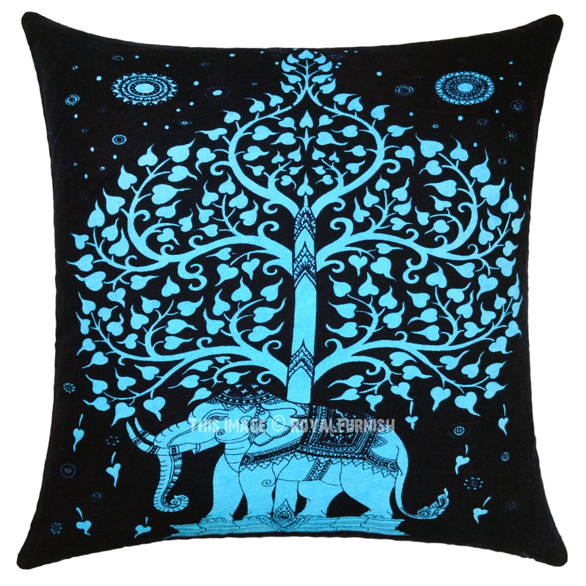 Black Amp Turquoise Decorative Tree Elephants Featuring Tie