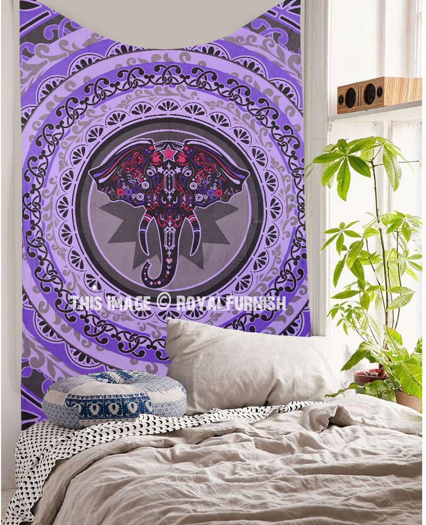 Small Purple Pink & Grey Elephant Face Circle Wall