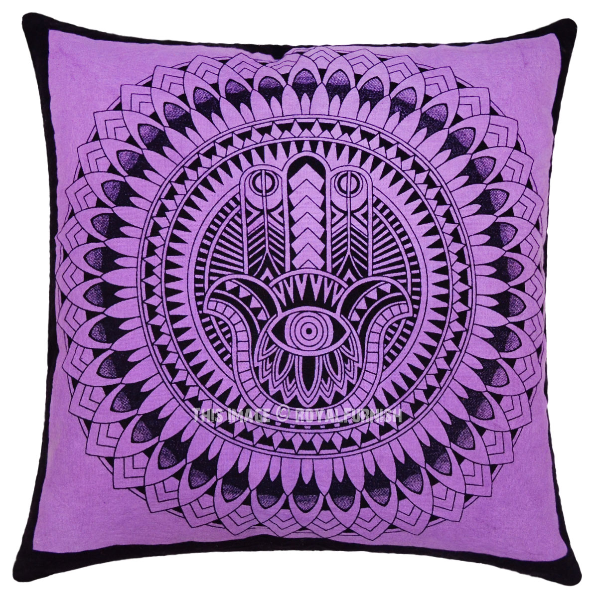 Purple Decorative Hamsa Hand Printed Tie Dye Square Throw ... - photo#40